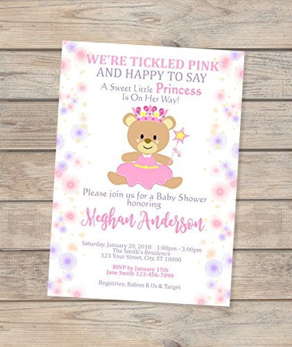 Princess shipfree Baby Shower Teddy Bear Invitation Spring new work one after another