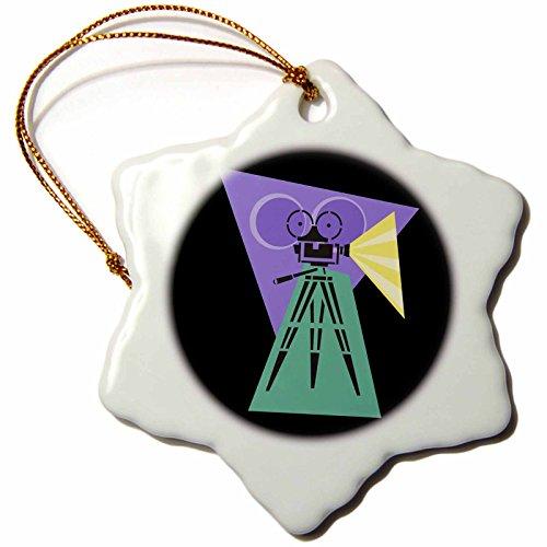 3dRose orn_38376_1 Retro Movie Camera Snowflake Decorative Hanging Ornament, Porcelain, 3-Inch