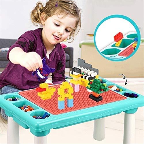 KDOAE Niñito Mesa de Actividades de construcción de Bloque de construcción Multiusos con 1 sillas, Escritura de Almacenamiento Superior y Juguete para niños Conjunto de Mesa y Silla