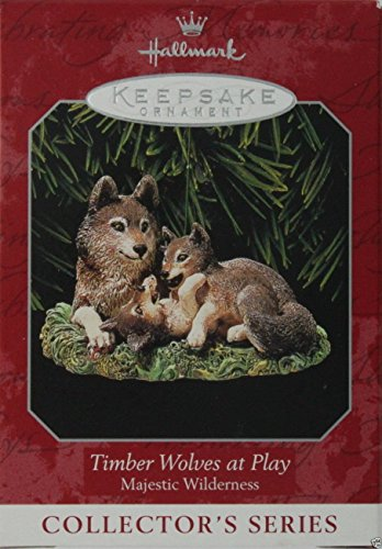 Hallmark Keepsake Ornament Majestic Wilderness Timber Wolves at Play 1998 QX6273