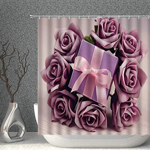 NJMRZX Weihnachts-Duschvorhang Weihnachtsgeschenk & Rose Blume Mauve Dekor Stoff Badezimmer Gardinen 183 x 183 cm Polyester mit Haken