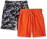Marca Amazon – Spotted Zebra – Pantalones cortos de punto para niño (2 unidades), Grey Camo/Orange, US M (8) (EU 128 CM)