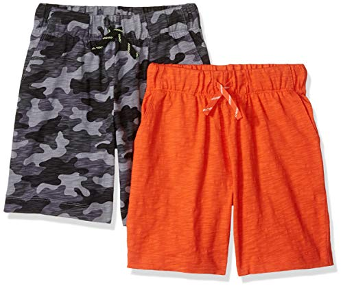 Amazon Brand - Spotted Zebra Kids Boys Knit Jersey Play Shorts, 2-Pack Grey Camo/Orange, Medium