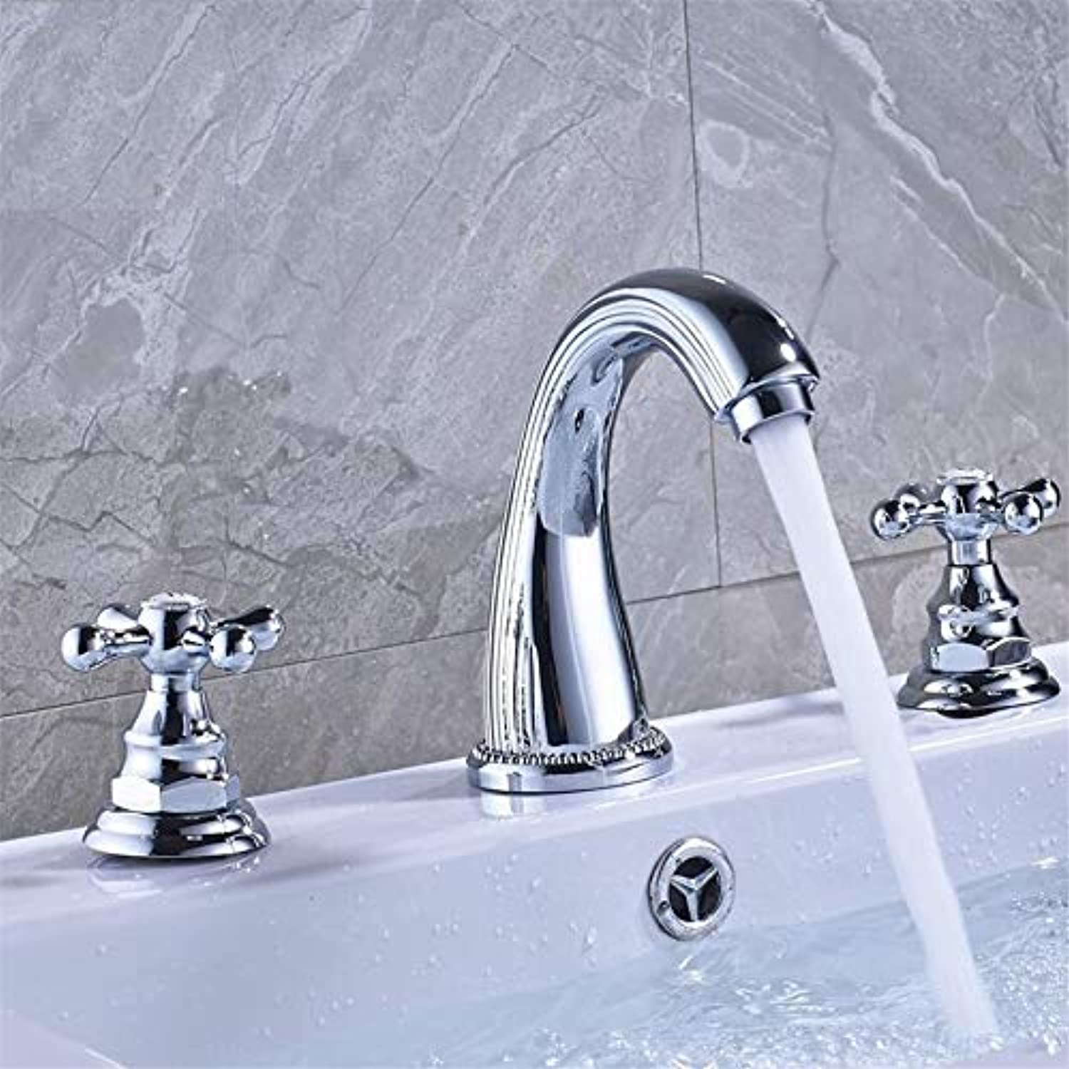 Faucet Basin Faucetbright Chrome Dual Handle Bathroom Mixer Faucet Deck Mounted 3 Install Holes Hot and Cold Water Lavatory Sink Taps