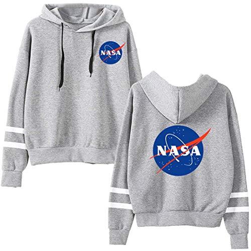 EMILYLE Donna Felpe con Cappuccio NASA Stampato Galaxy Planet Hoodie L,Grigio