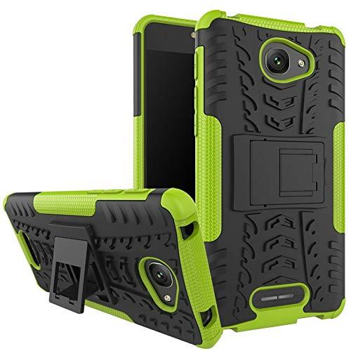 tinyue® Handyhülle für Alcatel Pop 4S (5.5 Zoll) Hülle,Hyun-Muster mit Ständerprotektor PC+TPU Doppelstoßstange Anti-Kratz-Handyhülle Telefonkasten im Freien, Grün