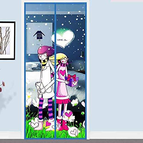 QJJML Cortina Puerta Antimosquitos para El Hogar De Verano,Cortina De Puerta Plegable Antimosquitos Y Cierre AutomáTico, Apta para Gatos Y Perros,Sala JardíN Mosquitera MagnéTica,D-90×210CM