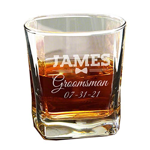 Personalized Groomsmen Whiskey Bourbon Scotch Glasses - 7 oz - Custom Etched Glass Engraved and Monogrammed for Free