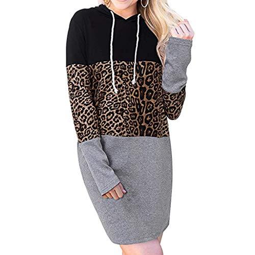 Lowest Prices! Amlaiworld Fashion Women Winter Sweatshirt Dress Long-Sleeved Leopard Colorblock Casu...