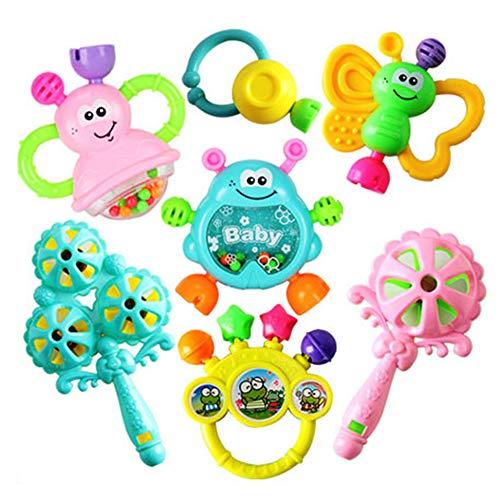 Giytoo 7 Unidades de sonajero para bebé, Instrumentos Musicales sensoriales, Juguete de Peluche, Juguete para el Desarrollo del bebé, Agarre de Mano para 3 6 9 12 Meses