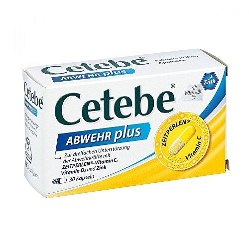 Cetebe ABWEHR plus – Nahrungsergänzungsmittel zur Unterstützung Ihrer Abwehrkräfte, mit Vitamin C, Vitamin D3, Zink (30 Kapseln)