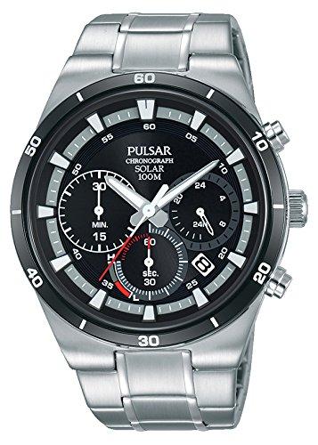 Pulsar Solar Herren-Uhr Chronograph Edelstahl mit Titankarbidlünette und Metallband PZ5041X1