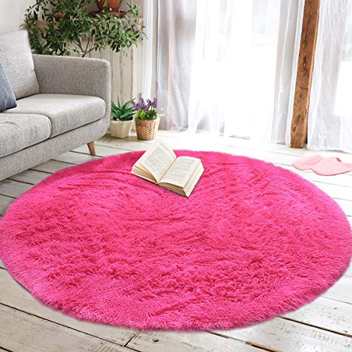 junovo Round Fluffy Soft Area Rugs for Kids Girls Room Princess Castle Plush Shaggy Carpet Cute Circle Nursery Rug for Kids Girls Bedroom Living Room Home Decor Small Circular Carpet, 4ft Hot-Pink