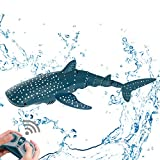 Remote Control Shark Toy 2.4GHz High Simulation Shark Toys Large Capacity 500mAh×2 Rechargeable Electric Toy Great Gift RC Boat Toys JIERUI CREATION (Whale Shark)