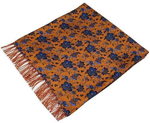 David Van Hagen Herren Fliegerschal Edwardian Flowers Seide, Orange/Blau