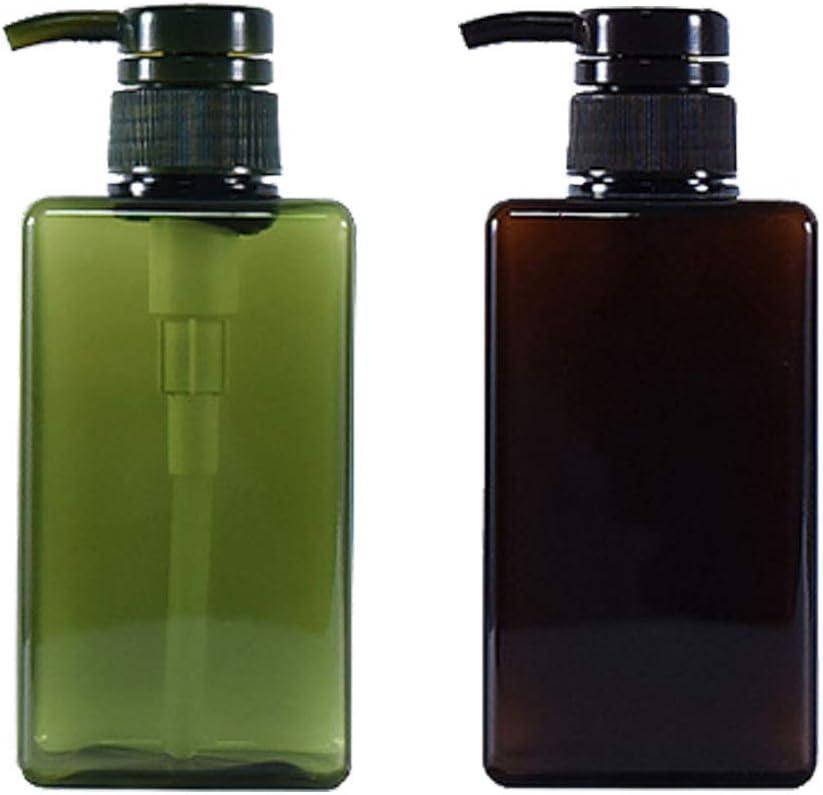 Botella de loción marrón de plástico Dispensador de loción de champú recargable Dispensador de loción marrón Embotellado de viaje Se utiliza en gel de ducha y jabón de manos 450ml (2 piezas)