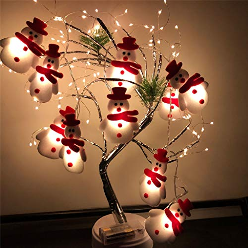 LED Christmas Snowman String Lights, Santa Claus String Lights Christmas Decoration, 3D Colorful Cute String Lights Outdoor Indoor Decor, LED Tree Light Set Home Party Yard Mantel Decor (A)