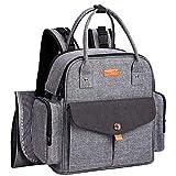 Sac à dos à langer, sac à langer multi-fonction Mom Backpack Mom Grand sac à langer en tissu avec matelas à langer, 3 poches...
