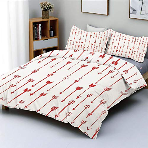 SoSung Duplex Print Duvet Cover Set Twin Size,Sport of Archery Falling Arrows Pattern Art with Drawing EffectDecorative 3 Piece Bedding Set with 2 Pillow Sham,Best Gift for Kids & Adult
