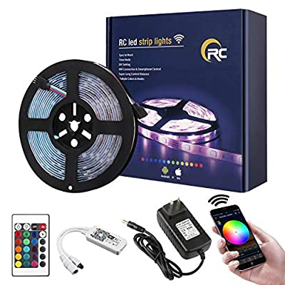 RC LED Strip Lights IP65 Waterproof SMD5050 RGB WiFi Wireless LED Controller 24Key IR Remote Works with Android,iOS System,Alexa,IFTTT and Google Assistant