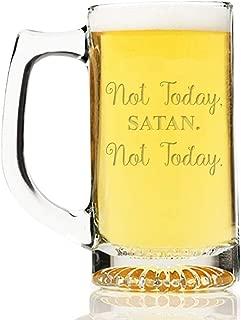 Not Today Satan Not Today Engraved 13 oz Beer Mug