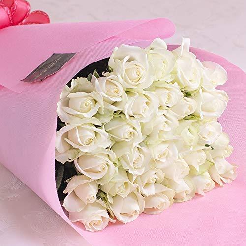 バラギフト専門店のマミーローズ 選べるバラ本数セレクト 還暦祝い 誕生日 プロポーズ 贈り物の豪華なバラの花束(生花) 白 24本