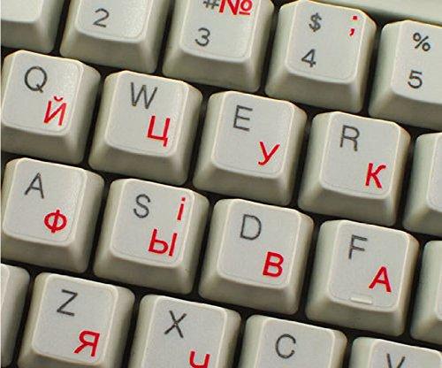 Qwerty Keys Ukrainisch Russisch transparente Tastaturaufkleber mit Roten Buchstaben - Geeignet für Jede Tastatur