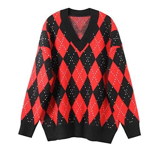 JIAKENVDE Winter Black Red V-Neck Diamond Lattice Pullover Knit Bottoming Shirt Women's Color Sweater Long Sleeve