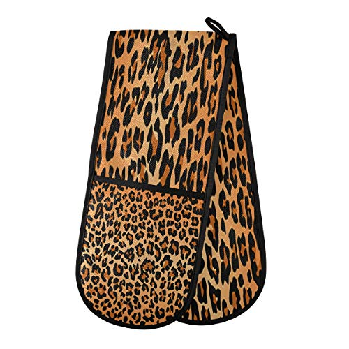 SLHFPX Best Leopard Print Oven Mitts Quilted Cotton Cooking Insulated Gloves | Double Oven Mitt for BBQ | Cooking | Baking | Grilling | Microwave | Barbecue Handling Hots and Pans