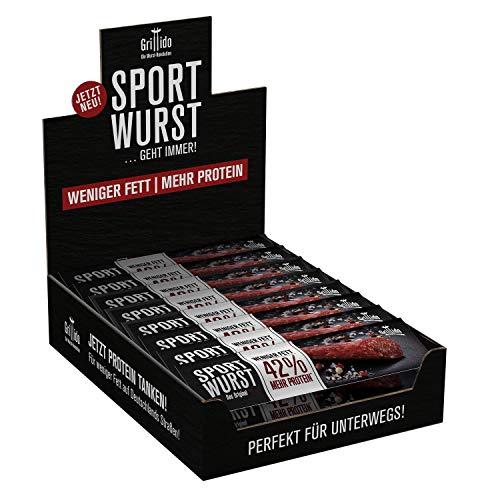 Grillido Sportwurst Original 25er Pack| Die Power Salami mit wenig Fett| Der Ideale herzhafte Snack...