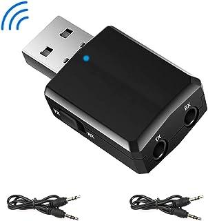 EasyULT Adaptador Bluetooth USB 5.0, Transmisor Receptor Bluetooth 3-en-1 con Audio Inalámbrico 3.5MM Cable, para PC/TV/Auriculares/Altavoces/Radio - Negro