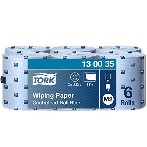 Tork 130035 Starke Mehrzweck Papierwischtücher für das M2 Innenabrollung Spendersystem / 1-lagiges stabiles Papier in Blau / mit Quick Dry Funktion / 6 x 165 Meter