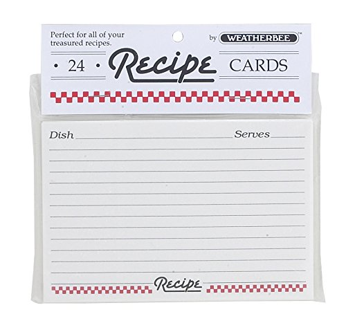Weatherbee Recipe Cards, 3 x 5-Inches, Set of 24, 3 x 5, White