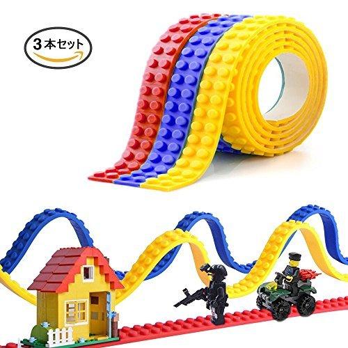 EpochAir レゴ ブロックテープ 切れる 貼れる 曲がる ブロッテ LEGO互換 シリコンブロックテープ 水洗い可能 貼り直すでき 知育玩具 アクセサリー 3本セット 100cm/本