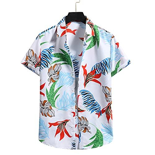 Shirt Hombre Verano Transpirable Cuello Kent Hombre Shirt Ocio Moda Estampado Botón Tapeta Regular Fit...