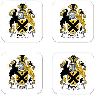 Purcell Family Crest Square Coasters Coat of Arms Coasters - Set of 4
