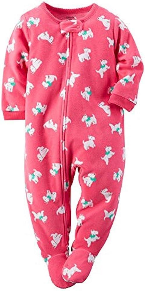 Carter's Little Girls' One Piece Fleece Footie Pjs (4 Kids, Pink - Dogs)