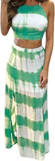 Womens 2 Piece Outfits Sexy Crop Top Maxi Skirt Set Bandage Club Dresses