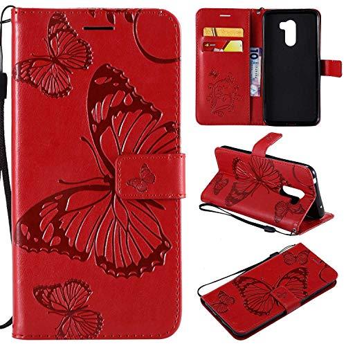 Ycloud PU Cuero Funda para Xiaomi Pocophone F1 Cierre Magnético Flip Billetera Soporte Función con Ranuras Diseño 3D Mariposa Rojo Carcasa para Xiaomi Pocophone F1