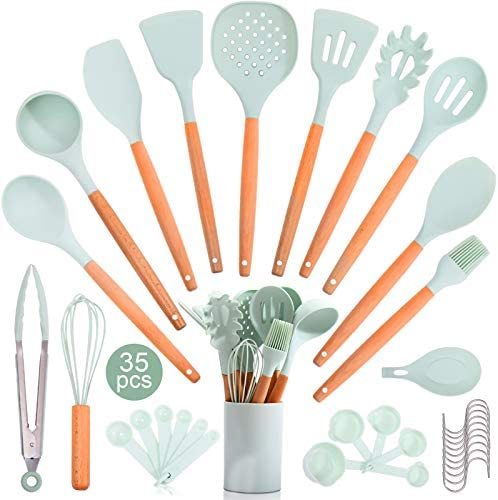 35PCS Silicone Kitchen Cooking Utensils Set with Wooden Handle Kitchen Gadget Utensil Sets With product image