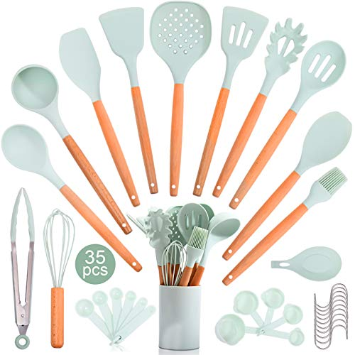 35PCS Silicone Kitchen Cooking Utensil Set with Storage Box for Countertop,Wooden...