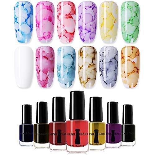 NICOLE DIARY Blossom Nail Polish Blossom Nail Varnish Watercolor Marble Nail Ink Gel Flower Nail Art...