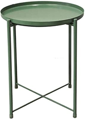 ASHDZ Nordic Style Modern Metal Round Tray Small Tea Table Coffee Table Sofa Side Living Room Carbon Steel Simple Elegant Furniture (Color : Green)