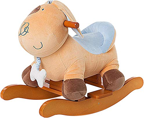 Labebe Baby Rocking Horse Wooden, Plush Rocking Horse Toy, Yellow Puppy/Dog Rocking Horse for Baby 1-3 Years, Baby Wooden Rocking Horse/Toddler Rocker/Baby Rocker Toy/Wood Rocking Horse/Toy Rocker Kid