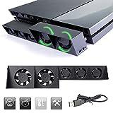KONKY PS4 Ventilateur du refroidissement Cooling Fan USB Ventilateur du Refroidissement 5-Fan Super Turbo avec Câble USB Noir pour Sony Playstation 4 Gaming Console
