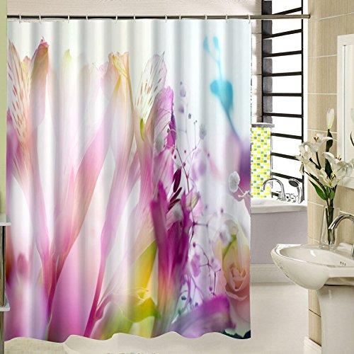 Rose Fleur Rideau de Douche 180 X 200 Textile Polyester avec 12 Anneaux