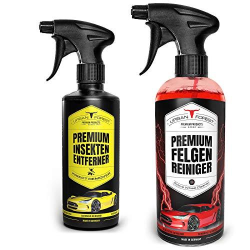 Auto Reiniger SPARSET | Premium Auto Felgenreiniger für lackierte Alu- und Stahlfelgen (1000ml) + Auto Insektenentferner für Windschutzscheibe & Scheinwerfer (500ml) von URBAN Forest