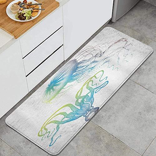 Octopus and Jellyfish Illustration Nautical Themed Art Underwater Wildlife Marine Anti Fatigue Kitchen Mat Comfort Floor Mats Non-Slip Oil Stain Resistant Easy to Clean Kitchen Rug