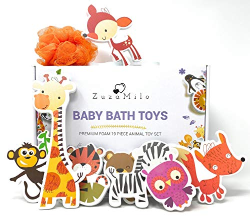 ZuzaMilo Best Educational Foam Animals Bath Toy Set for Babies and Toddlers + Bathtub Toy Organizer + Kids Sponge