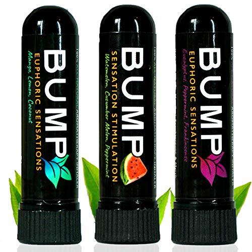 TN Scientific | Bump Aromatherapy Nasal Inhaler (3 Pack C) Essential Oils, Menthol & Peppermint - Mango Lemon, Coconut/Watermelon, Cucumber Melon/Eucalyptus, Frankincense - Boost Focus & Relaxing
